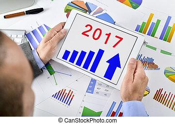 zijn, tablet, voorspelling, economisch, 2017, verrichtend, man