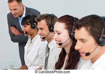 zijn, team, directeur, centrum, klesten, roepen