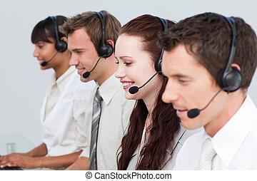 zijn, team, directeur, centrum, werkende , roepen