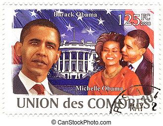 zijn, usa, vrouw, postzegel, :, -, comores, barack, 44th, ...