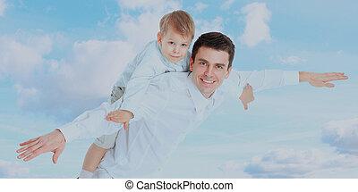 zijn, vader, schouders., vasthouden, zoon