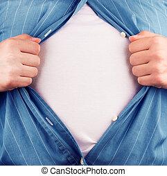 zijn, van, hemd, zakelijk, bebouwd, man, tearing, gefrustreerde, aanzicht