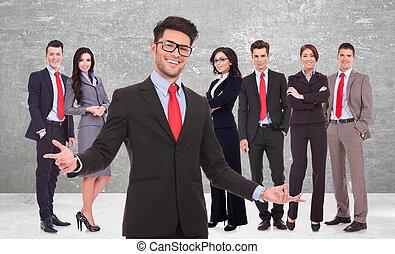 zijn, verwelkoming, zakelijk, succesvolle , team, u, man