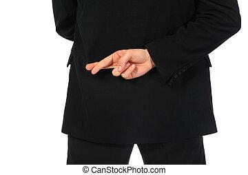 zijn, vingers, back, achter, gekruiste, zakenman