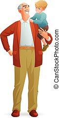 zijn, vrijstaand, illustratie, grootvader, achtergrond., vector, vasthouden, grandson., het glimlachen, witte