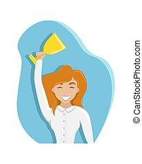 zijn, vrouw, prijs, cup., winnen, gelukkig, vrijstaand, vector, meisje, hands., illustration.