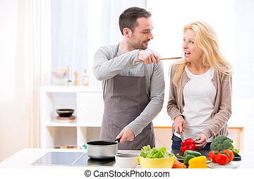 zijn, vrouw, voedingsmiddelen, geven, jonge, proeven, aantrekkelijk, man