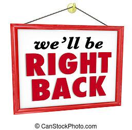 zijn, we'll, rechts, afwezig, back, meldingsbord, breken,...