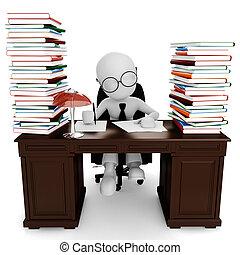zijn, werkende , zittende , bureau, man, 3d