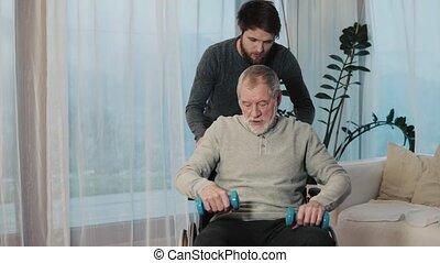 zijn, wheelchair, vader, zoon, hipster, senior, home.