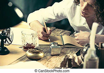 zijn, work., zittende , schrijver, jonge, schrijvende , sketchpad, iets, tafel, mooi