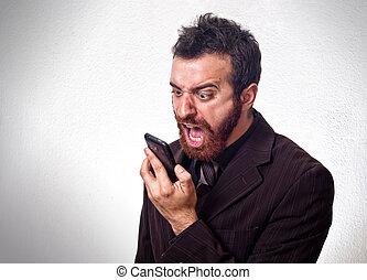 zijn, zakelijk, het schreeuwen, mobiele telefoon, kostuum, man