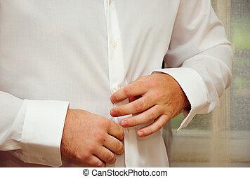 zijn, zakelijk, knoop, ruim op op, suit's, man