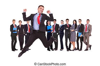 zijn, zakelijk, springt, team, voorkant, man