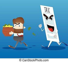 zijn, zakenkantoor, geld, weg, belasting, rennende , arbeider, pot, hands.
