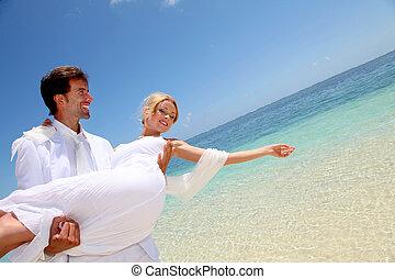 zijn, zee, bruidegom, armen, bruid, vasthouden