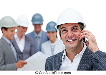 zijn, zeker, telefoon, architect, team, voorkant, mannelijke