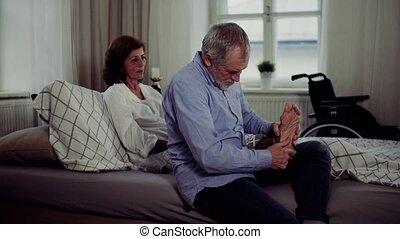 zijn, zittende , geven, vrouw, massage., bed, invalide,...