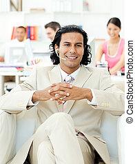 zijn, zittende , leunstoel, tevreden, team, voorkant, zakenman
