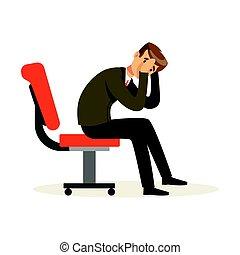 zijn, zittende , stoel, werken, karakter, illustratie, vector, ontevreden, ongelukkig, onsuccesvol, zakenman