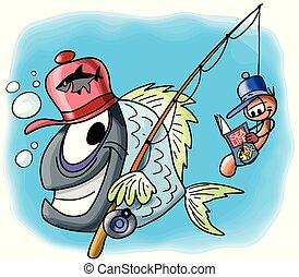 zijn, zittende , visje, karakter, worm, illustratie, haak, magazine, vector, samen, gaat, lezende , spotprent, vriend, visserij