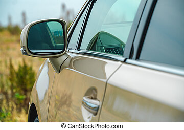 zijspiegel, auto, foto, gold-coloured, rear-view