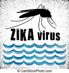 zika, 病毒, 蚊子, 站立, 水