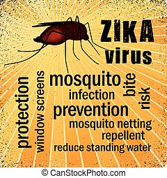 zika, 病毒, 蚊子, 詞, 雲