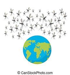 zika, 病毒, mosquitoes., fflock, ......的, mosquitoes., 攻擊, 上,...
