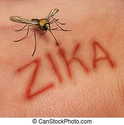 Zika Disease Concept - Zika disease concept as a virus risk...