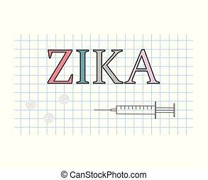 Zika on checkered paper sheet- vector illustration