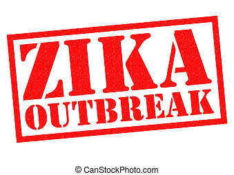 ZIKA OUTBREAK red Rubber Stamp over a white background.