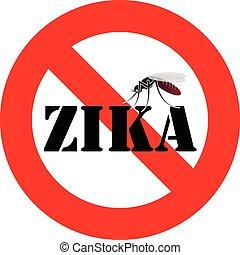 zika, virus, avvertimento, zanzara, segno