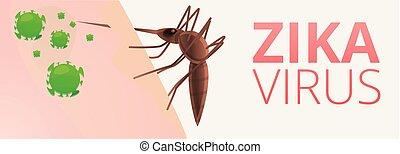 Zika virus concept banner, cartoon style