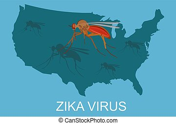 zika virus concept, USA map, vector illustration
