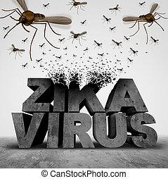 zika, virus, concetto, pericolo