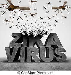 Zika Virus Danger Concept - Zika virus danger concept as a...