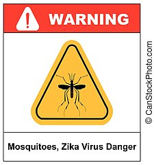 Zika virus Danger, Mosquitoes symbol, vector sticker
