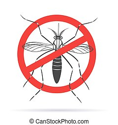 Zika alert banner, poster, flyer with aegypti aedes mosquito. Aegypti. Forbidden, no mosquito sign. High quality graphic design elements, isolated on a white background with shadow. Healthcare concept