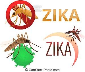 Zika virus icons set, cartoon style - Zika virus icons set....