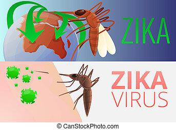 Zika virus infection banner set, cartoon style
