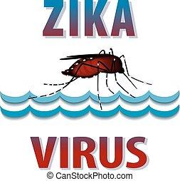 Zika Virus, mosquito, standing water, graphic illustration.