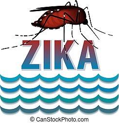 Zika Virus mosquito, standing water, graphic illustration.