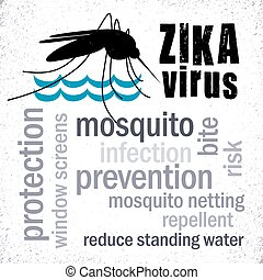 Zika Virus, Mosquito, Word Cloud - Zika Virus with mosquito...