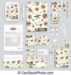 Zika virus set of vector corporate identity template. Modern...