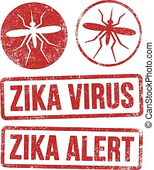 Zika virus stamps - Vector illustration of red ink stamps...