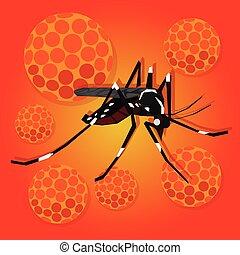 zika zica virus masquito virus aedes aegypti spread pandemic aoubreak vector illustration