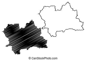 Zilina Region (Regions of Slovakia, Slovak Republic) map vector illustration, scribble sketch Zilina map