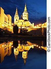 Zilina - Trinity Cathedral, Slovakia at night