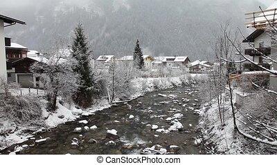 Ziller river in winter. Mayrhofen, - Zillertal Valley in...